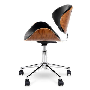 Wooden & PU Leather Office Desk Chair - Black