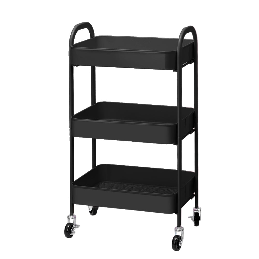 Artiss 3 Tier Kitchen Storage Cart Portable Rolling Rack Shelf Wheel Office Tool