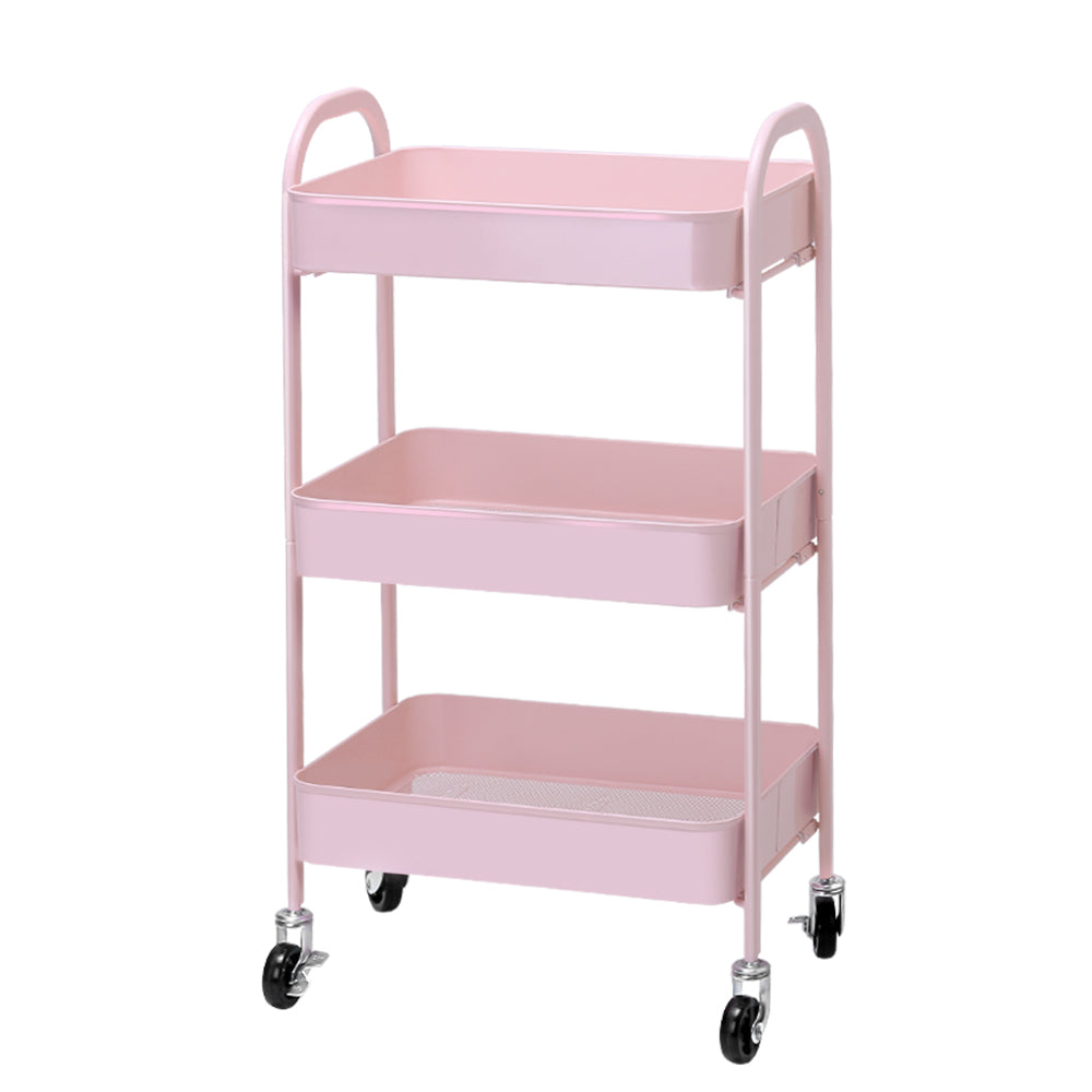 Artiss 3 Tier Kitchen Trolley Storage Cart Portable Rolling Rack Shelf Organiser