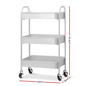Artiss 3 Tier Kitchen Storage Cart Portable Rolling Rack Shelf Office Utility WH