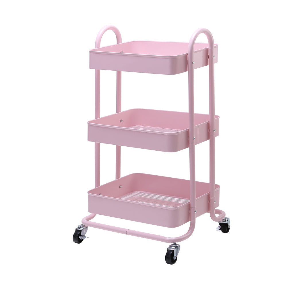 Artiss 3 Tier Rolling Storage Cart Portable Kitchen Trolley Rack Shelf Wheels