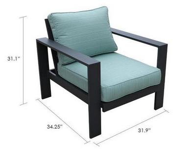 patio aluminum club chair dimensions