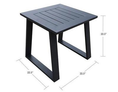 patio aluminum square table dimensions