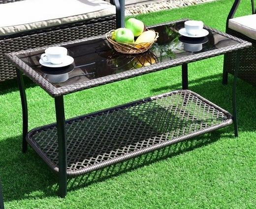 Wicker patio center table
