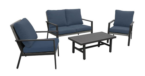 aluminum and wicker patio seating set