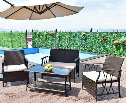 4 piece rattan wicker patio set