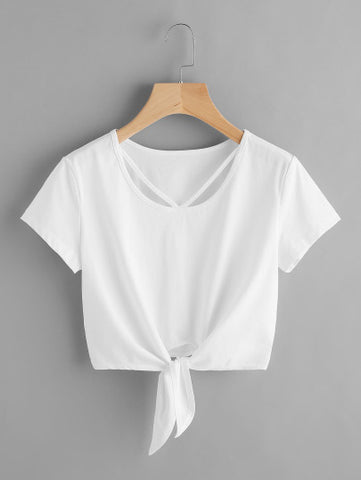 V Strap Neck Knot Front Crop Tee