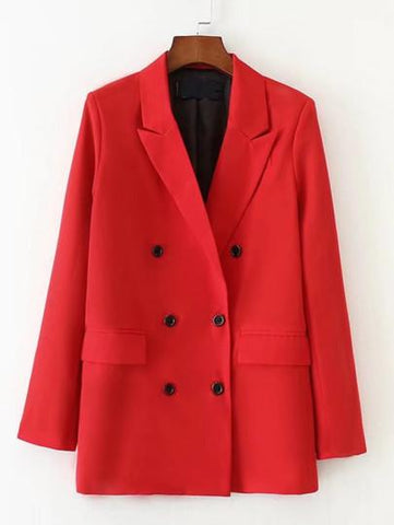 Womens Jane Double Breasted Red Cotton Blazer