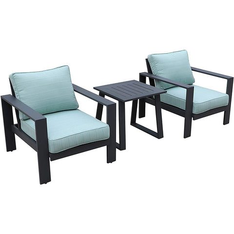 All-Weather Patio Furniture Outdoor 2 Club Chairs with Side Table/End Table by Gardennaire (Aqua)