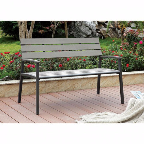 Transitional Style Patio Bench, Gray