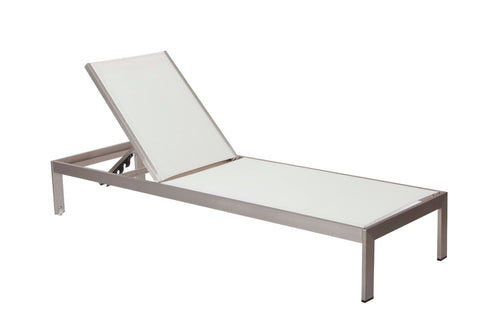 Anodized Aluminum Modern Patio Lounger In White