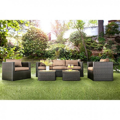 5 Piece Aluminum Patio Set, Espresso Brown