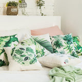 "Green Leaves Pillow Cover 18"" x 18"""