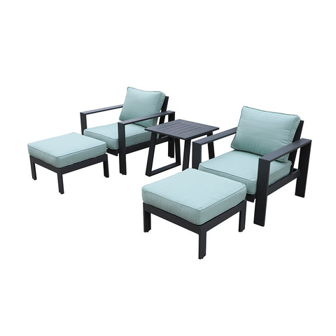 All-Weather Patio Furniture Set Outdoor 5 pc Relaxation Club Chair Set by Gardennaire (Aqua)