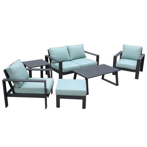 All-Weather Patio Furniture Deluxe 5 pc. Seating Set by Gardennaire (Aqua)