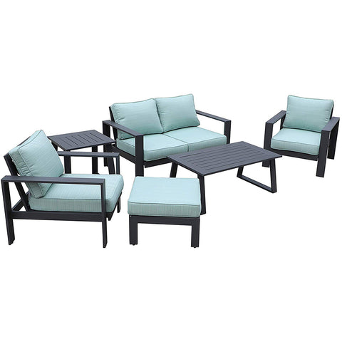 All-Weather Patio Furniture Platinum 6 pc. Seating Set by Gardennaire (Aqua)