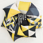 "Yellow and Gray B Pillow Cover 18"" x 18"""