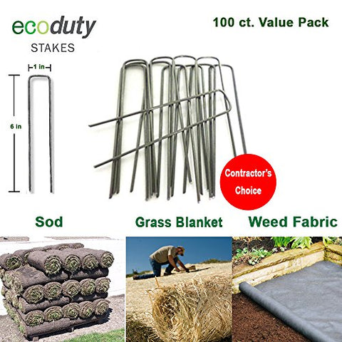 Ecoduty Contractor Grade Solid Steel 6 inch 11-Gauge Sod Staples (100 ct)