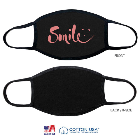 100% COTTON MADE IN THE USA SMILE BLACK FABRIC FACE MASK