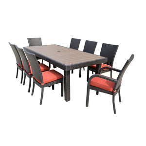 Gardennaire Balcones 9 Piece Patio Dining Set - Red