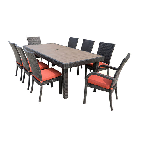 red 9 piece patio dining set