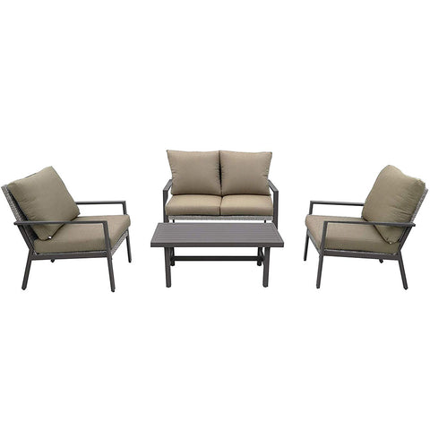 Lonestar 4 Piece Patio Sofa Set | Wicker Table and Chairs with All Weather Cushions (Grey Frame/Beige Cushions)