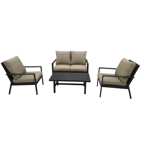 Lonestar 4 Piece Patio Sofa Set | Wicker Table and Chairs with All Weather Cushions (Brown)