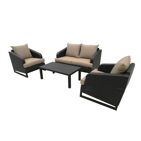 Comal 4 Piece Patio Sofa Set | Wicker Table and Chairs with All Weather Cushions by Gardennaire (Brown)