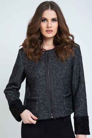 Zip Jacket with Cuff and Hem Detail