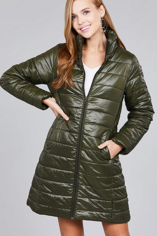 Olive Long Quilted Nylon Puffer Jacket