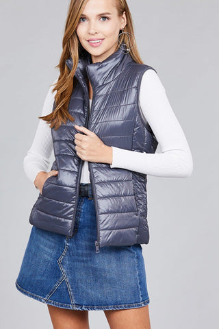 Dark Grey Nylon Quilted Puffer Vest