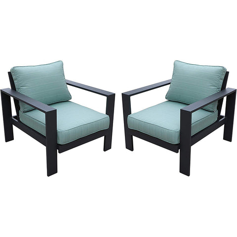 All Weather Garden Furniture Aluminum Framed Modern Outdoor Patio Club Chairs (Set of 2) by Gardennaire (Aqua)