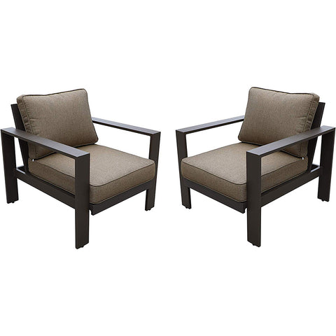 All Weather Garden Furniture Aluminum Framed Modern Outdoor Patio Club Chairs (Set of 2) by Gardennaire (Brown)