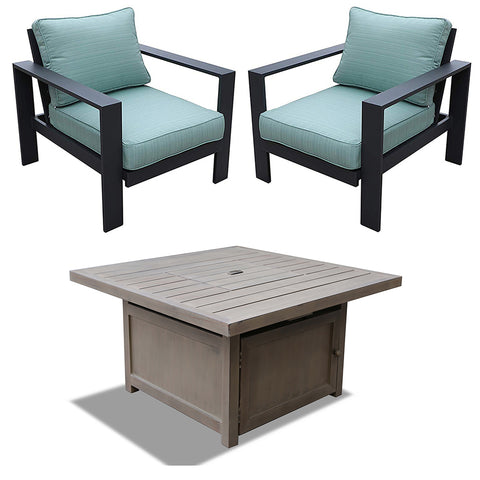 All-Weather 5-Piece Firepit Table Seating Set (Aqua)