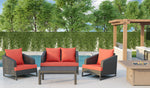 Comal 4 Piece Patio Sofa Set | Wicker Table and Chairs with All Weather Cushions by Gardennaire (Red)