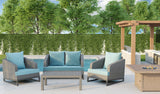 Comal 4 Piece Patio Sofa Set | Wicker Table and Chairs with All Weather Cushions by Gardennaire (Seafoam)
