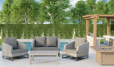 Comal 4 Piece Patio Sofa Set | Wicker Table and Chairs with All Weather Cushions by Gardennaire (Dark Grey)