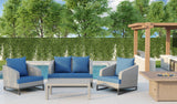 Comal 4 Piece Patio Sofa Set | Wicker Table and Chairs with All Weather Cushions by Gardennaire (Navy)
