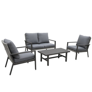 Lonestar 4 Piece Patio Sofa Set | Wicker Table and Chairs with All Weather Cushions (Grey)