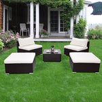 5 PC Patio Sectional Lounge Rattan