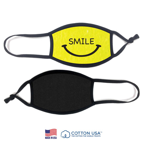 100% COTTON MADE IN THE USA SMILE NEON YELLOW KIDS FABRIC FACE MASK