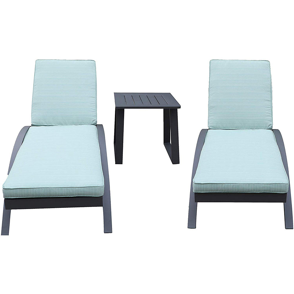 - All-Weather Outdoor Patio Adjustable Poolside Chairs & Table (Aqua