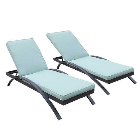 All-Weather Outdoor Patio Furniture Sun Pool Adjustable Poolside Chaise Lounge Chairs (Set of 2) by Gardennaire (Aqua)