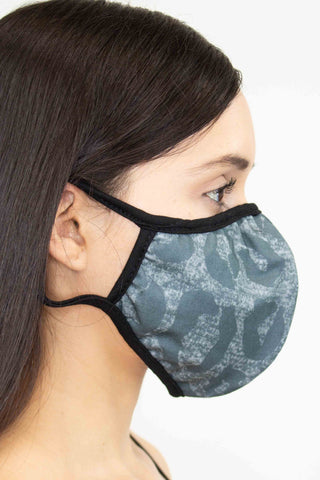 Animal Print Face Mask - Charcoal