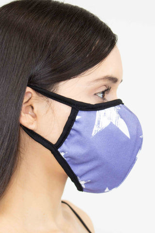 Star Print Face Mask - Blue