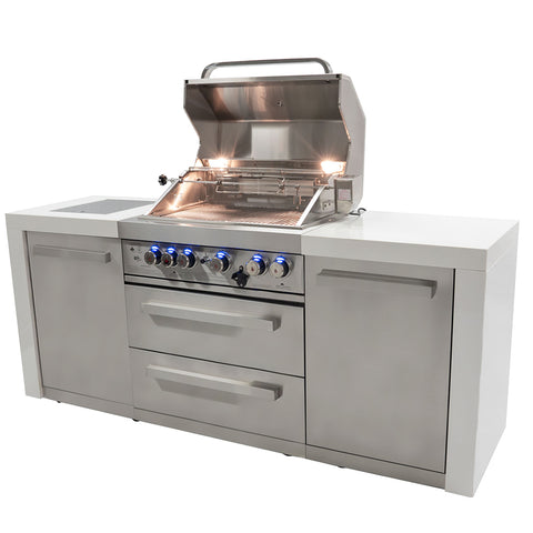 Mont Alpi-400 Island - Four Burner Island Gas Grill with Granite Cabinets and Infrared Side Burners