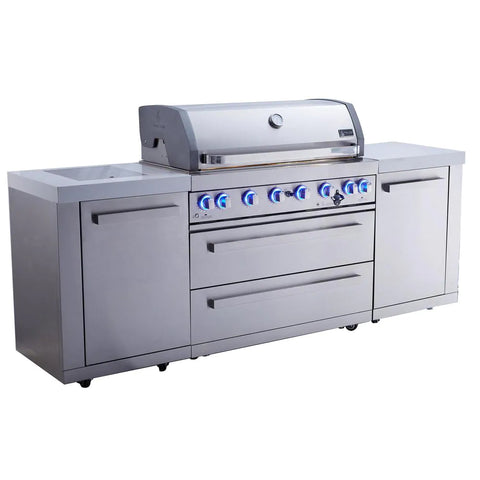 Mont Alpi 805 Island -Premium 6 Burner Island Gas Grill with Granite Cabinets and Infrared Burners