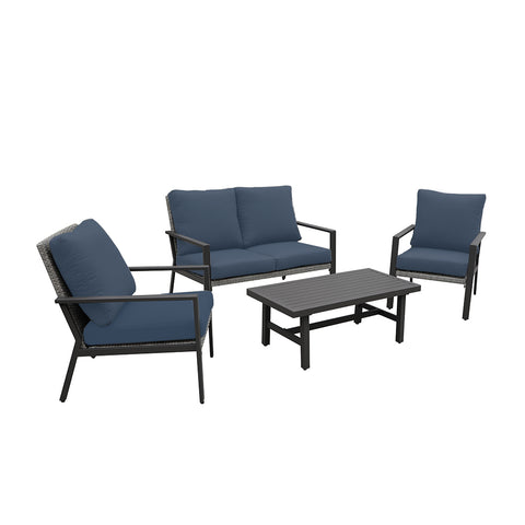Lonestar 4 Piece Patio Sofa Set | Wicker Table and Chairs with All Weather Cushions (Navy)