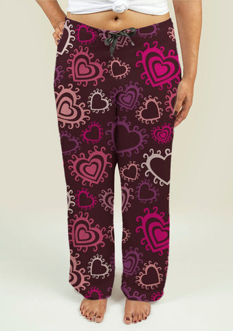 Ladies Pajama Pants with Hearts - Gardennaire