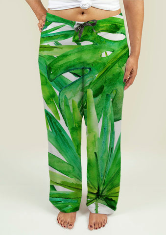 Ladies Pajama Pants with Tropical leaves - Gardennaire